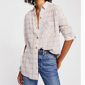 Free People Break My Stride Plaid Button Up Blouse
